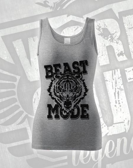 Tílko Beast Mode Tiger - šedý melír