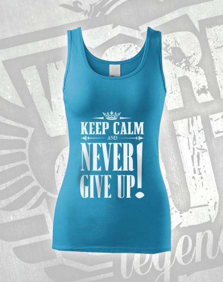 Tílko Never Give Up - azurová