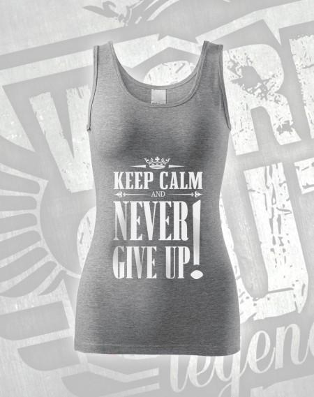 Tílko Never Give Up - šedý melír