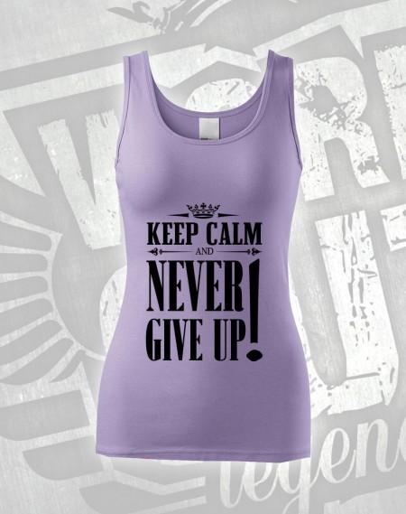 Tílko Never Give Up - světlá fialová