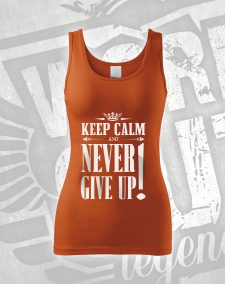 Tílko Never Give Up - oranžová