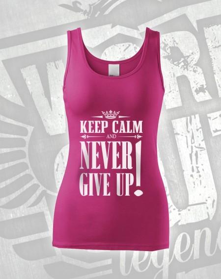 Tílko Never Give Up - růžová