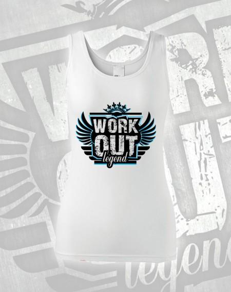 Tílko Workout Legend - bílá (modrý potisk)