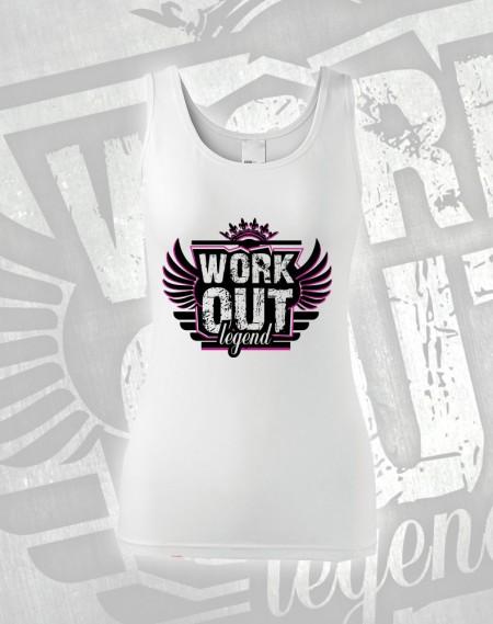 Tílko Workout Legend - bílá (růžový potisk)