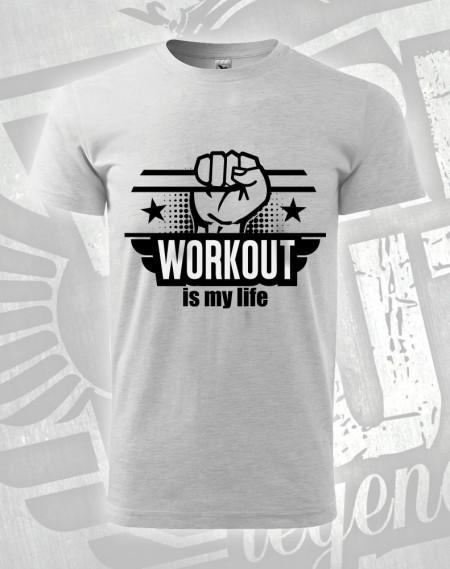 Triko Workout is my Life - šedý melír (světlý)