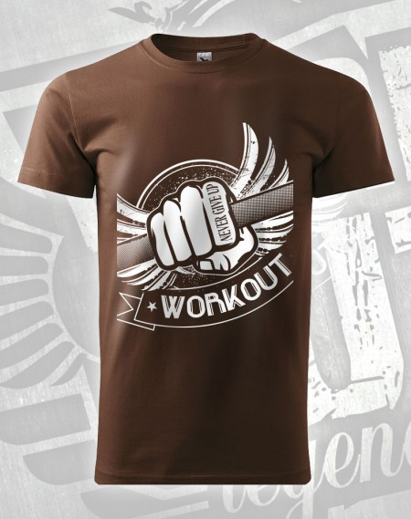 Triko Workout Fist - čokoládová