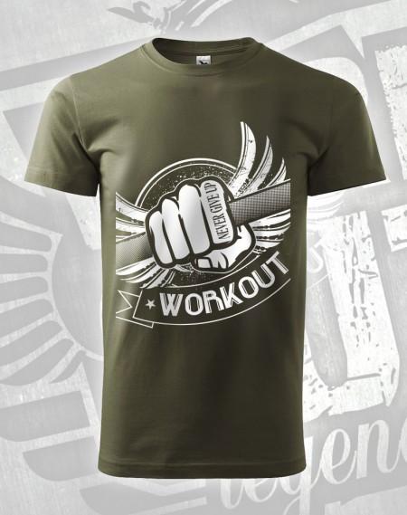 Triko Workout Fist - vojenská