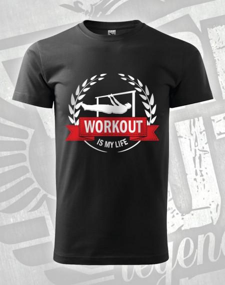 Triko Workout is my life- flever - černá