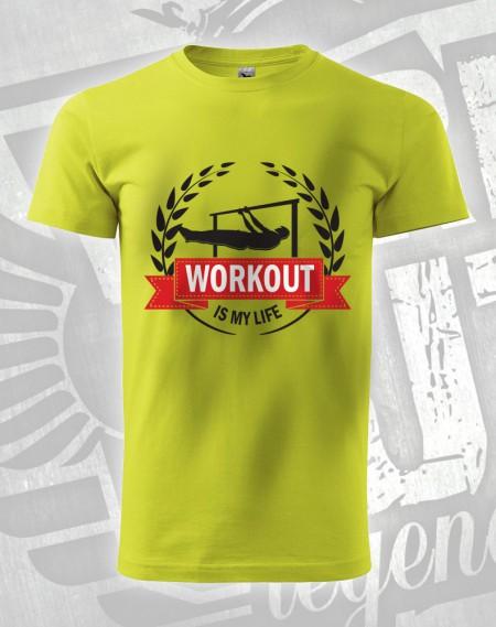 Triko Workout is my life- flever - limetková