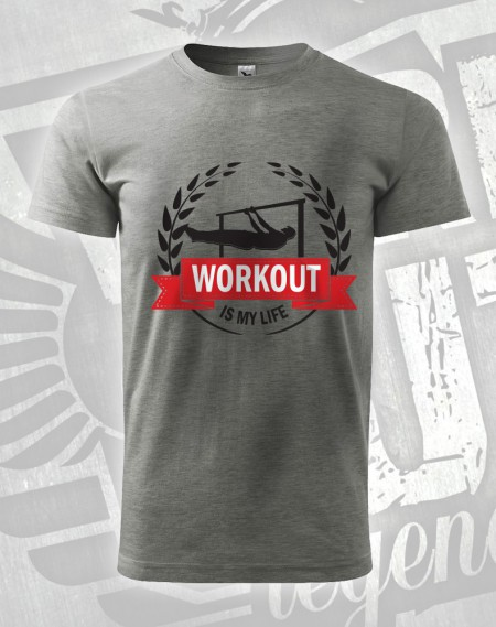 Triko Workout is my life- flever - šedý melír (tmavý)